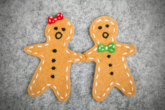 Guys with gingerbread Stock Photography