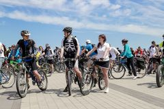 Guys and girls ride bikes during the cycling festival in Dnipro. Bike Day Dnepropetrovsk. Dnepr city, Ukraine, May 26, 2018. Dnepr city, Ukraine, May 26, 2018 stock photo