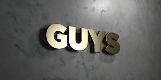 Guys - Gold sign mounted on glossy marble wall - 3D rendered royalty free stock illustration. This image can be used for an online website banner ad or a print Royalty Free Illustration