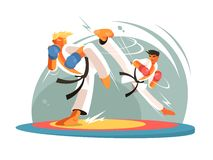 Guys karate sparring for training Stock Photo