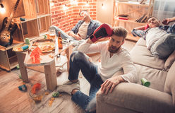 Guys after the party Royalty Free Stock Photo