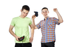 Guys play games on the joystick Royalty Free Stock Image