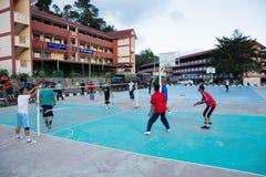Guys playing in game Sepak Takraw, Cameron Highlands, Malaysia Royalty Free Stock Photos