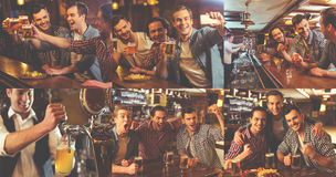 Guys resting in pub. Collage of handsome guys drinking beer, talking and laughing in pub stock image
