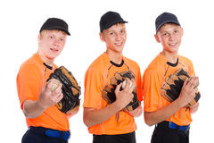 Guys in the shape of a baseball game. Two of the boys twin brothers Stock Photo