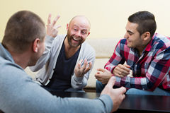 Guys sitting at table. Chatting and smiling indoors Royalty Free Stock Image
