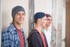 Guys skateboarders in street Royalty Free Stock Photography