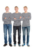 Guys in a striped shirts with arms crossed Royalty Free Stock Photo