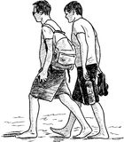 Guys walking on a beach. Vector drawing of the young men on a beach Stock Photos