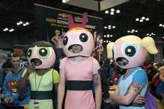 Guys wearing Power Puff Girl costumes at NY Comic Con Royalty Free Stock Photography