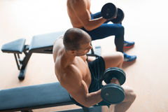 Guys working out in gym. Two guys working out in gym Stock Images
