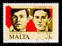 Guzeppi Bajada和Manwel阿塔尔德受害者, 6月7日1919示范serie第66周年,大约1985年 免版税库存图片
