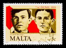 Guzeppi Bajada och Manwel Attard offer, 66th årsdag av 7 Juni 1919 demonstrationsserie, circa 1985 Royaltyfri Bild