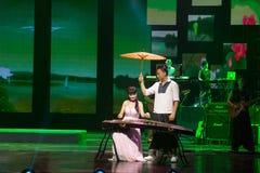 中国人Guzheng使用 免版税库存照片