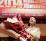Guzheng female actor zhanglei holding flowers Stock Images