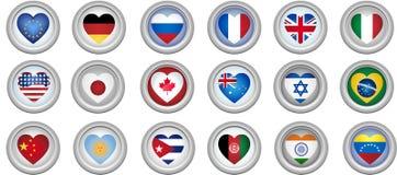guzików flaga serce kształtujący Zdjęcia Stock