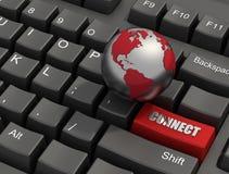guzik łączy klawiaturę Obraz Stock