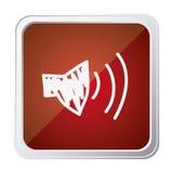 guzik audio głośnikowa pojemność z tło czerwienią i ręka rysująca royalty ilustracja