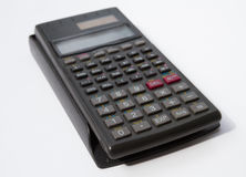 guzik c tło białe kalkulator ogniska, Fotografia Stock