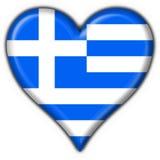 guzik Greece bandery kształt serca Zdjęcie Royalty Free
