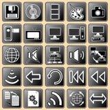 guzik ikony tajmeniczo ustawiają sieć biel Zdjęcie Stock
