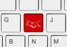 guzik uścisk dłoni klawiatura komputera Zdjęcie Stock