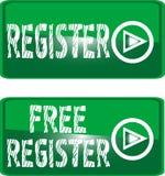 guzika bezpłatny zieleni rejestru znak Obrazy Stock