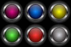 guzika glansowany ikony set Zdjęcie Royalty Free