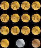 guzika narzędzia ikony foki złociste serie ustawiać royalty ilustracja