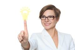 Guzika pomysłu żarówki sieci biznesowa ikona Bizneswoman Obraz Royalty Free