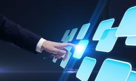 guzika ręki interfejsu dosunięcia ekranu dotyk Zdjęcie Stock