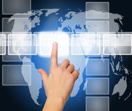 guzika ręki interfejsu dosunięcia ekranu dotyk Fotografia Stock