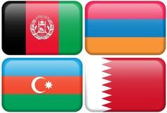 guziki azjatykcia afganistanie Armenii azerbejdżańska flagę Fotografia Stock