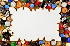 Guziki i ramy retro tło dla twórczości krawczyna i projekta Guzik — przepięcie na odziewa łączyć swój części fotografia royalty free