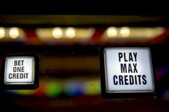 Guziki na przodzie uprawiać hazard automat do gier zdjęcia stock