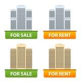 Guziki sprzedaż i czynsz miast mieszkania Fotografia Royalty Free