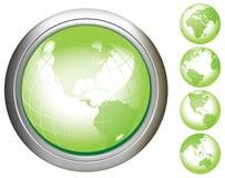 guziki uziemiają glansowaną zieleń Zdjęcie Royalty Free