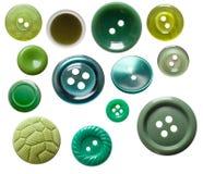 guziki zielenieją odosobnionego set Zdjęcia Stock