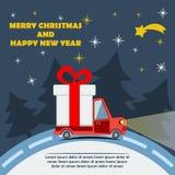 Gåvaleveransskåpbil i julhelgdagsafton Royaltyfria Foton