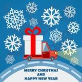 Gåvaleveransskåpbil i julhelgdagsafton Royaltyfria Bilder
