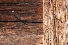 Gwóźdź w drewno powierzchni Obraz Royalty Free
