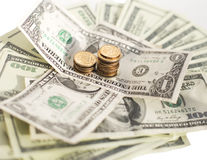 Gwałtowny spadek rosyjski rubel dolar w kryzysie Zdjęcia Royalty Free