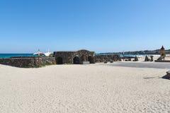 Gwakji Gwamul Open-air public bath. Gwakji  beach and Gwamul open-air traditional public bath in Aewol. The beach is famous for its depth and breadth, fine sand Stock Image