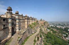 Gwalior Fort - India. Gwalior Fort is in the city of Gwalior, in the central Indian state of Madhya Pradesh. It stands on an isolated rock, overlooking Gwalior Royalty Free Stock Photo