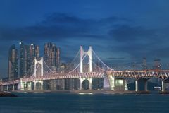 Gwangan Bridge with Busan city in background at Busan, South Kor Royalty Free Stock Photography