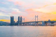 Gwangan Bridge in Busan City , South Korea. Royalty Free Stock Images