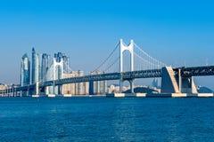 Gwangan bridge and Haeundae in Busan. Royalty Free Stock Image