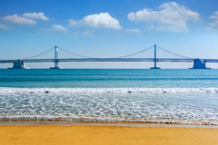 Gwangan bridge and Haeundae in Busan,Korea Royalty Free Stock Images