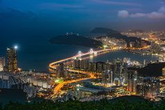 GwangAn Bridge and Haeundae at night in Busan,Korea Royalty Free Stock Images