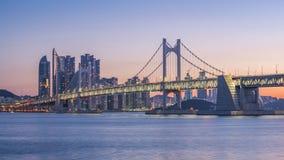 Gwangan Bridge and Haeundae at Sunrise, Busan City, South Korea Stock Photos